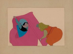 Original production cel featuring Flora and Merryweather from Sleeping Beauty