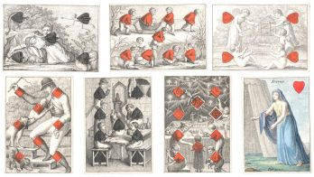 PLAYING CARDS Karten Almanach [complete pack of 52 pictorial playing cards], stippled-engraved, court cards hand-coloured, red pips suits hand-coloured